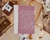 Lilac Leaf Embroidered Cork Leather Journal, Refillable bullet journal, A5 planner