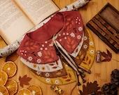 Autumn Leaf Embroidered Linen Collar, Peter Pan Collar
