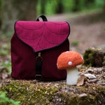 Burgundy Leaf Mini Backpack, Waterproof Leaf Bag, Vegan Bag, Toddler backpack