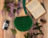 Dark Green Leaf Shoulder Bag Bag, PRE ORDER