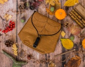 Coffee BrownLeaf Mini Backpack,  Small Autumn Backpack for Woman