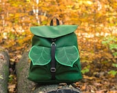 Army Green Boho Backpack, Waterproof Hipster Backpack, Leaf Backpack Pre Order