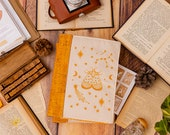 White Embroidered Cork Leather journal, Vegan Leather Bullet Journal, Refillable bullet journal, Notebook organiser, A5 planner PRE ORDER