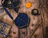 Navy - Gold Shoulder Bag, Gift For Her, Leaf Cross-body Bag, Small Bag Pre Order