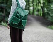 Dark Green Leaf Boho Waterproof Outdoor Backpack - Pre Order
