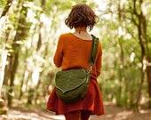 Army Green Messenger Bag with a cute  Leaf Motif Pre Order