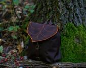 Dark Brown Mini Backpack for Nature Lovers, Waterproof Backpack with a Cute Leaf Motif PRE ORDER