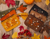 Floral Cork Leather Coin Purse Wallet, Vegan Leather Wallet by Leafling Bags