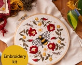 Folk Bee Embroidery Kit, Beginner  Hand Embroidery Kit  Hungarian Folk Embroidery with Bee