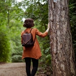 Dark Brown Cork Leather Leaf Backpack