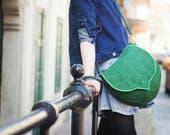 Dark Green Leaf Cross Body Bag, Waterproof Messenger Bag Pre Order