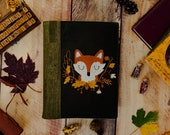 Fox Embroidered Cork Leather Journal, A5 planner, refillable bullet journal Pre order