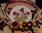 Mushroom Embroidery Pattern - PDF, DIY Embroidery tutrial, Fly Agaric Mushroom Embroidery Patter with Oak Leaves Diy
