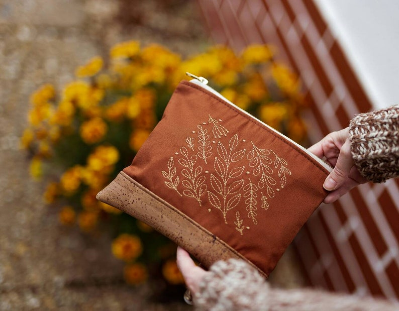 Leaf Embroidered Cork Vegan Leather Clutch image 0