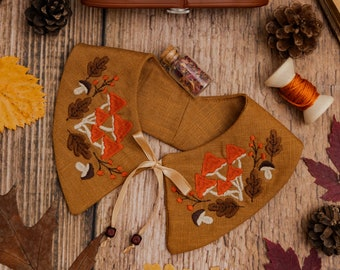 Mushroom Embroidered Detachable Linen Collar for Toddlers in Camel Brown