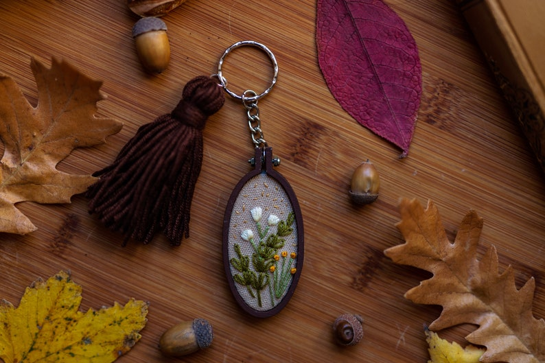 Flower Garden Mini Embroidery Hoop Key-chain image 0