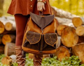 Brown Bohemian Leaf Backpack by Leafling Bags PRE ORDER
