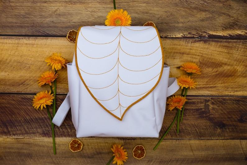 White Leaf Shaped Waterproof Backpack PRE ORDER image 0