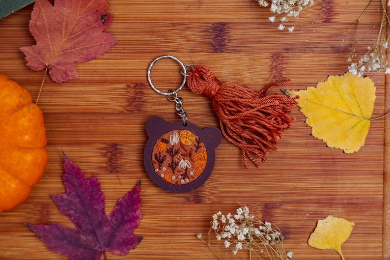 Orange Floral Bear Mini Embroidery Hoop Key-chain image 0