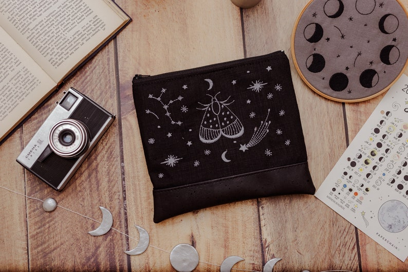 Night Moth Embroidered Canvas  Vegan Leather Clutch Black image 0