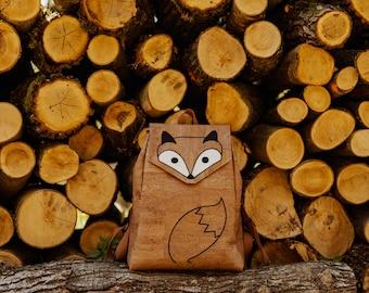 Fox Cork Leather Backpack LARGE. Light Brown Vegan Leather Backpack