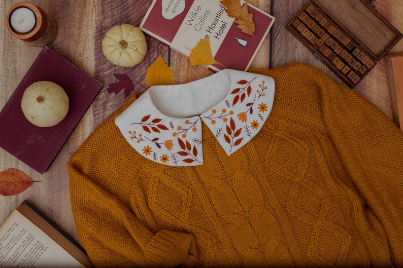 Autumn Leaf Embroidered Linen Collar image 0