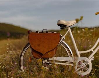 Coffee Brown Pannier Bag, Leaf Bike Bag by Leafling Bags PRE ORDER