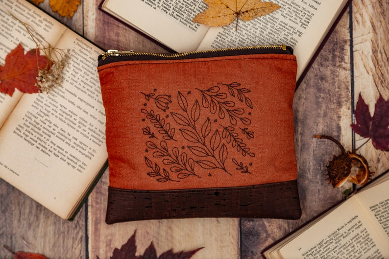 Rust  Dark Brown Leaf Embroidered Cork Vegan Leather Clutch image 0