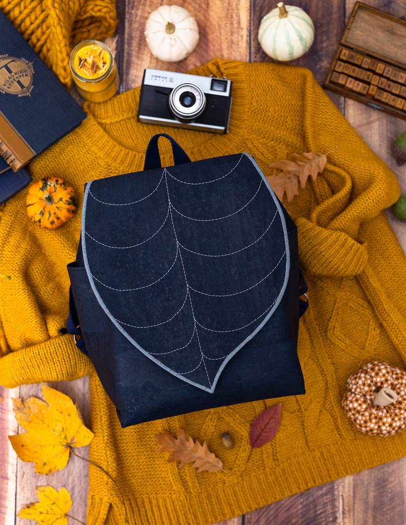 Navy Cork Leather Leaf Backpack image 0