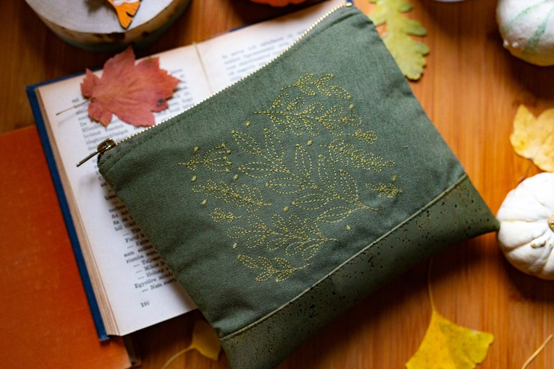 Green Leaf Embroidered Cork Leather Clutch image 0