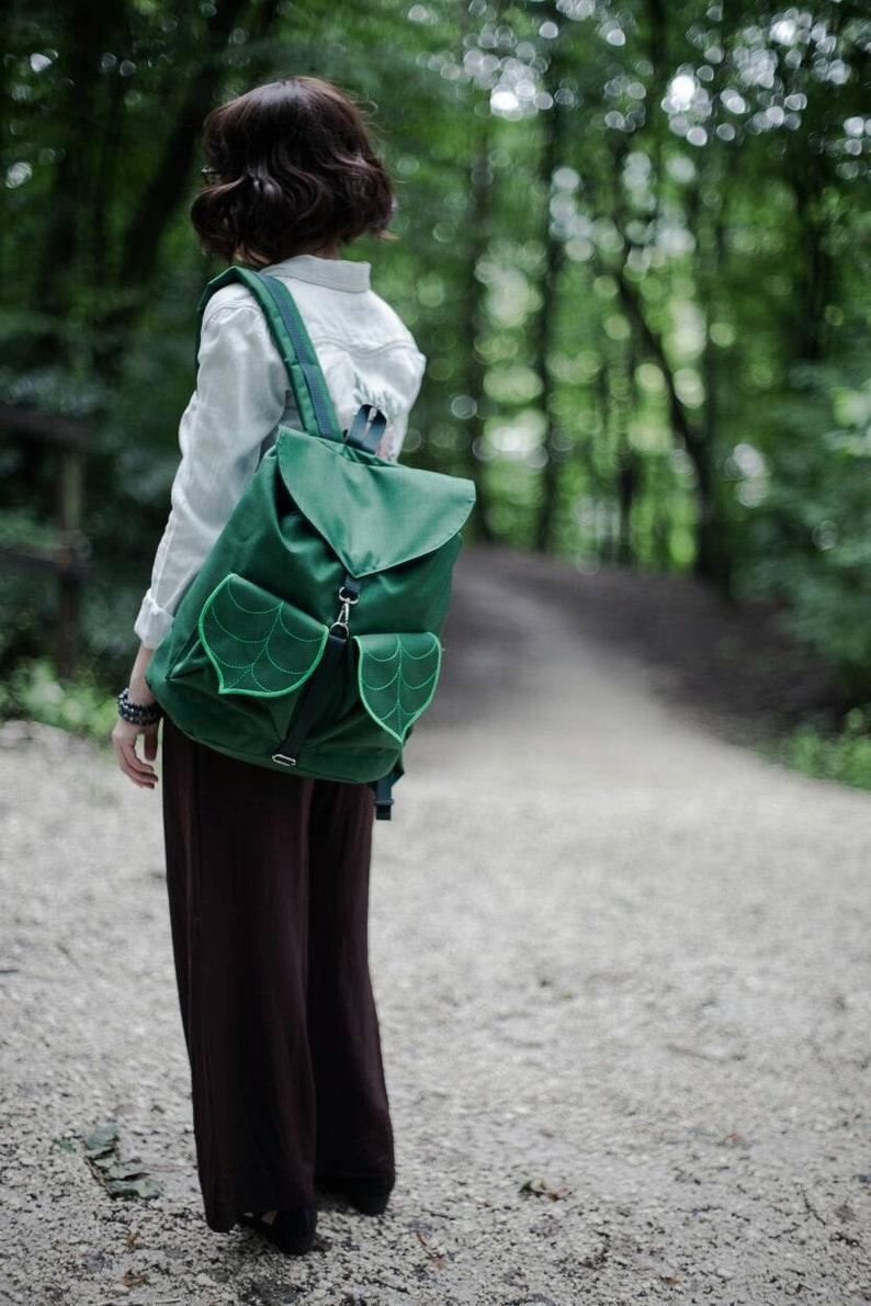Dark Green Leaf Boho Waterproof Outdoor Backpack   PRE ORDER image 0