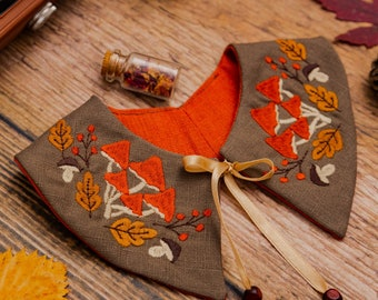 Mushroom Embroidered Detachable Linen Collar for Toddlers in Cool Brown