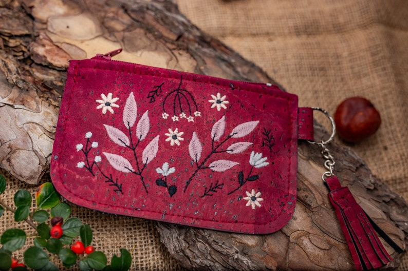 Wine Red  Cork Leather Coin Purse Wallet image 0