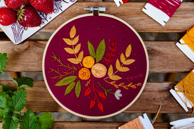 Roses  Embroidery Hoop Decor image 0
