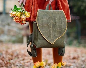 Green Cork Leather Leaf Backpack , Green Leaf Backpack made from Plant Based Leather PRE ORDER