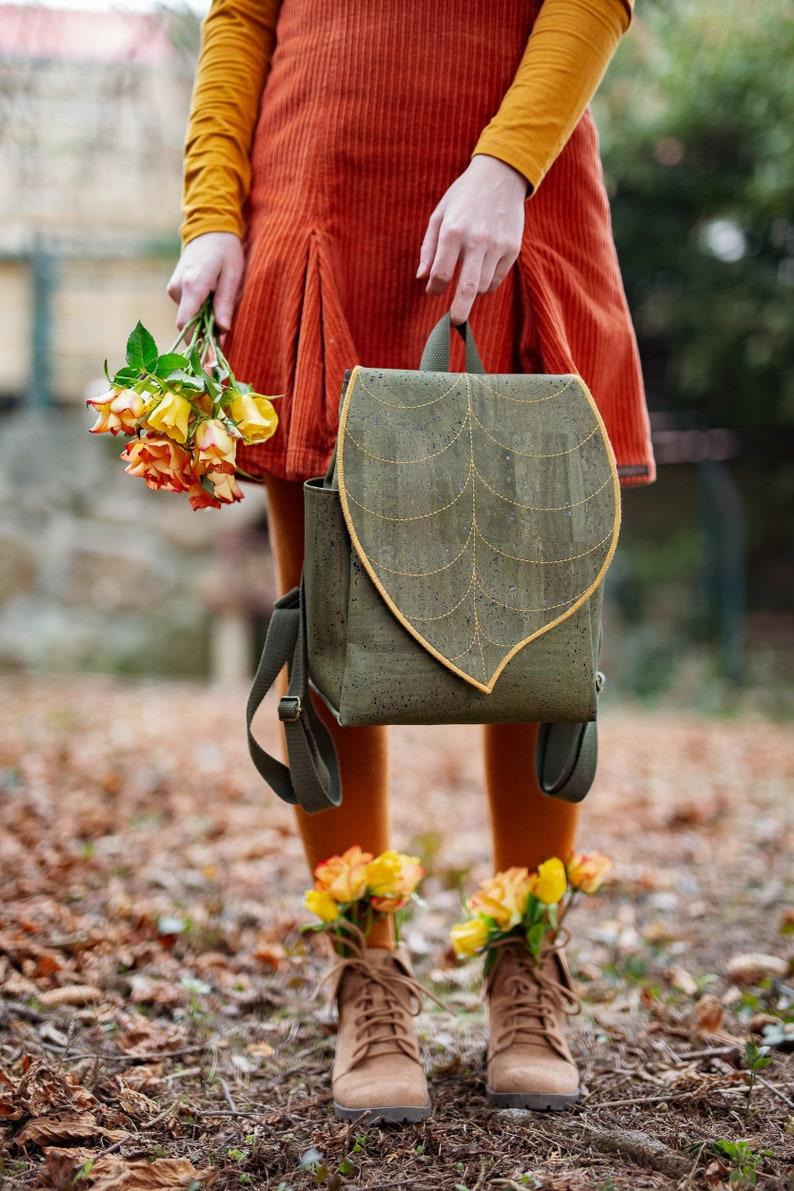 Green Cork Leather Leaf Backpack  Green Leaf Backpack made image 0
