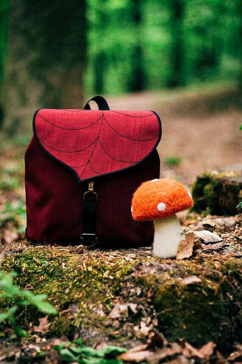 Red Leaf Mini BackpackSmall Waterproof Backpack for Girls image 0