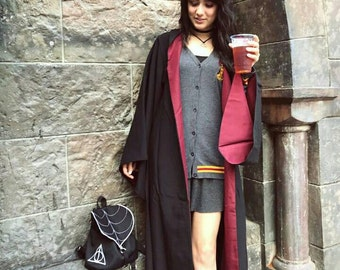 Deathly Hallows Mini Backpack, Always Embroidery, Waterproof Backpack, Harry PotterGift, Black Bckpack