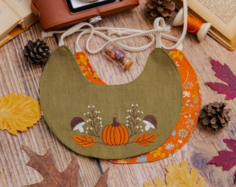 Baby Bib with Pumpkin Embroidery, Set of two baby bins, ONE SIZE
