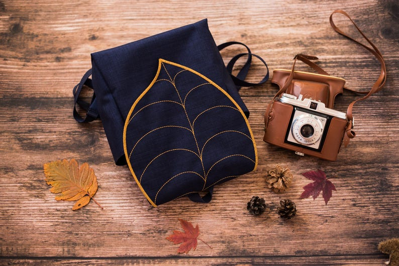 Navy Gold Leaf Waterproof Canvas Backpack  for Woman  by image 0