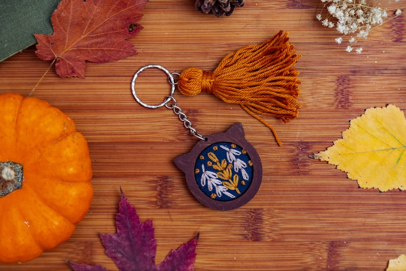 Navy Cat Mini Embroidery Hoop Key-chain image 0