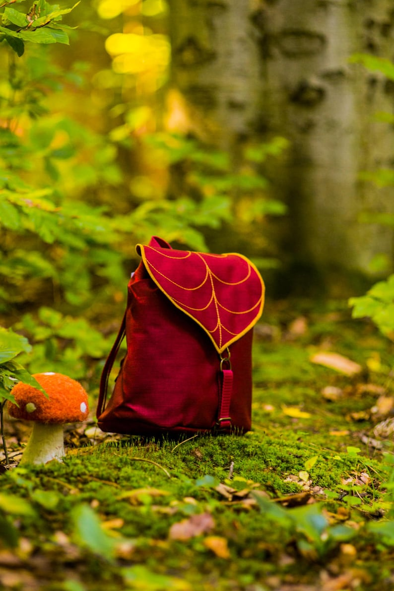Autumn Leaf Backpack for Woman or Girls in Burgundy-Gold PRE image 0