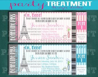 Paris Boarding Pass Ticket Baby Shower Invitation 076
