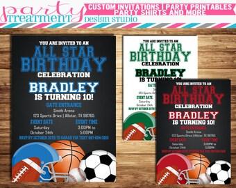 All Star Birthday Invitation, all-star birthday invitation, allstar birthday, sports birthday, football, soccer, basketball, baseball  #161