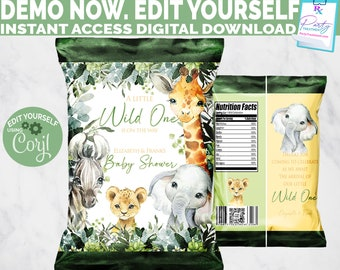 Safari Baby Shower Favor EDITABLE chip bag, Wild One Chip Bag, Gender Neutral, Safari party favor, Jungle party favor, INSTANT DOWNLOAD