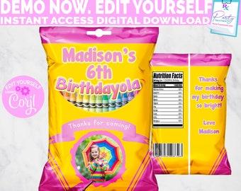 Crayon Chip Bag, Pink Crayon Party Favor Bag, Printable Chip Bag, Photo Chip Bag, Art Birthday Favor, Crayon Birthday,  INSTANT DOWNLOAD