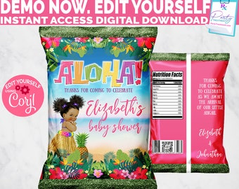 Editable Aloha Luau Baby Shower Chip Bag, Aloha Birthday Party Favor chip bag, Afro puff baby girl chip bag INSTANT ACCESS download