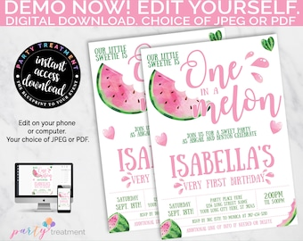 Watermelon Invitation, One in a Melon 1st Birthday Invite, Melon First Birthday Invite, Pink Watermelon Party, EDITABLE, INSTANT DOWNLOAD