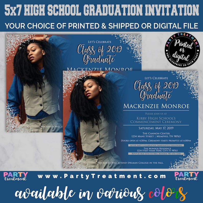 Photo graduation invitation for high school. Available in various colors! Click to learn more!