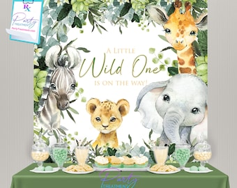 Safari Banner, Jungle backdrop, Safari baby shower backdrop, Wild One backdrop,  Wild One Banner, Wild One Birthday Party Decoration